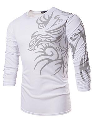Print-Informeel / Werk / Formeel / Sport / Grote maten-Heren-Polyester / Spandex-T-shirt-Lange mouw Zwart / Wit