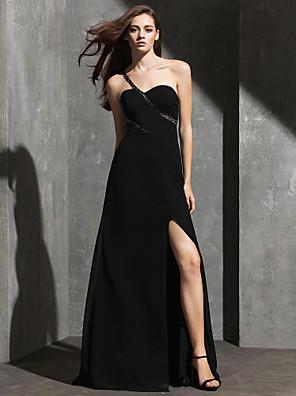 ts couture® formel aften kjole plus size / kort kappe / kolonne ene skulder gulvlang spandex med beading
