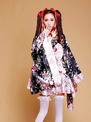 Úbory / Pokojská Wa Lolita Princeznovské Cosplay Lolita šaty Růžová Patchwork / Tisk / Květinový Dlouhé rukávy Short LengthKimono / Sukně