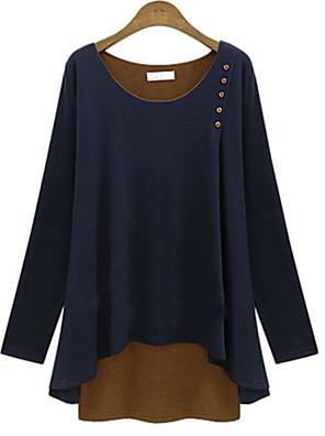 Mulheres Blusa Casual Simples Verão,Sólido Azul / Cinza Algodão Decote Canoa Manga Longa Fina