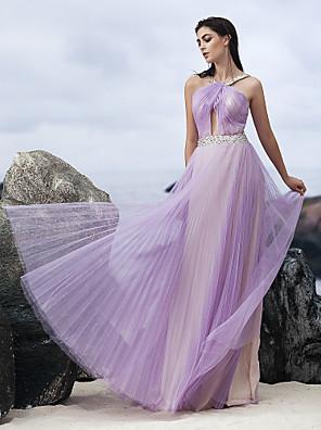 ts couture® avondjurk a-lijn halster vloer-length chiffon met kristallen details / draperen / criss cross