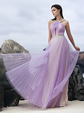 ts couture® הערב רשמית להלביש אונליין שיפון באורך הרצפה קולר עם קריסטל המפרט / כורכת / שתי וערב
