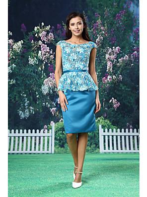 ts Couture® cocktail gaine de robe de soirée / colonne scoop genou longueur dentelle / satin avec ceinture / ruban