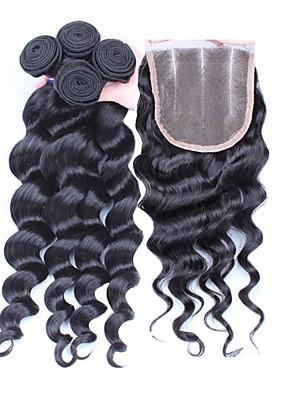 4stk / lot 10 '' - 30 '' peruviansk virgin hår løs bølge hår lukning med bindeskud peruvianske løs bølge hår bundter