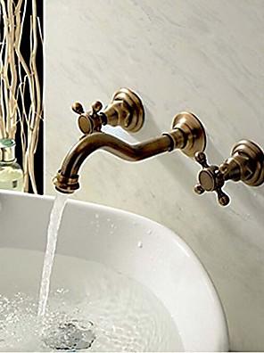 vægmonteret to håndtag tre huller i antik kobber håndvasken vandhane