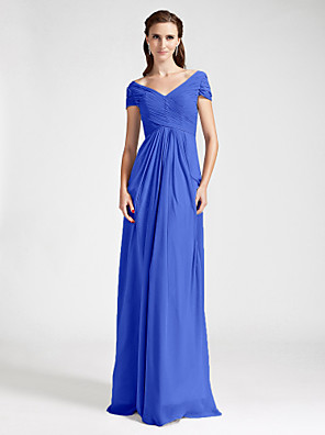 Lanting Bride® עד הריצפה שיפון שמלה לשושבינה  מעטפת \ עמוד מתחת לכתפיים / צווארון וי פלאס סייז (מידה גדולה) / פטיט עם תד נשפך / בד בהצלבה