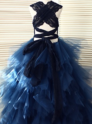 Ball Gown Floor-length Flower Girl Dress - Lace / Tulle Sleeveless Scoop with