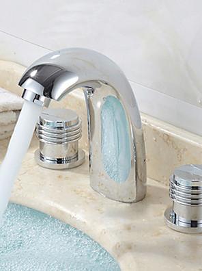 udbredt to håndtag tre huller i krom håndvasken vandhane
