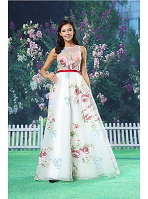 ts couture® formale eveningdress una linea gioiello piano di lunghezza organza / raso