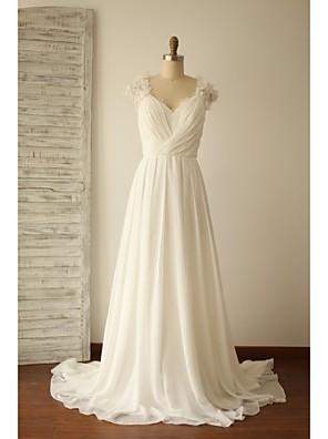 Linha A Vestido de Noiva - Chique e Moderno Cauda Escova Decote V Chiffon / Renda com Miçanga / Cruzado