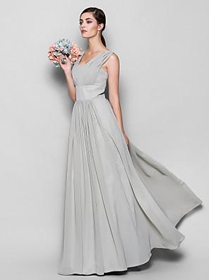 Lanting Bride® Na zem Šifón Šaty pro družičky Pouzdrové Čtvercový Větší velikosti / Malé s Nabírání