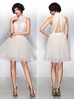 TS couture® 칵테일 파티 드레스 - 아름다운 다시 레이스와 라인 높은 목 무릎 길이 레이스 / 얇은 명주 그물