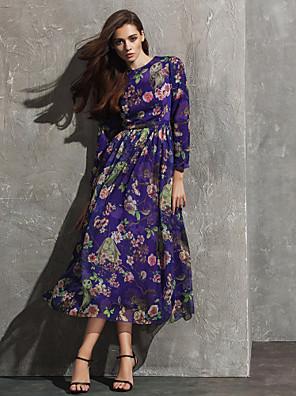 포멀 이브닝 드레스 A-라인 쥬얼리 종아리 길이 쉬폰 와 패턴 / 프린트
