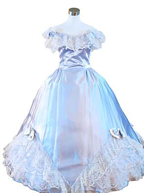 Uma-Peça/Vestidos Gótica Steampunk® / Vitoriano Cosplay Vestidos Lolita Azul Céu Cor Única Sem Mangas Comprimento Longo Vestido Para