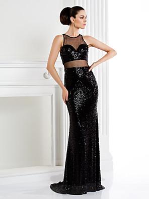 와 TS couture® 공식적인 저녁 / 검은 넥타이 갈라 드레스 트럼펫 / 인어 보석 스윕 / 브러쉬 기차 반짝이