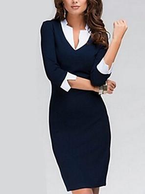 קיץ כחול אורך שרוול ¾ מעל הברך צווארון עגול טלאים עבודה שמלה צינור נשים מיקרו-אלסטי דק