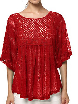 Plus Size Women's Lace Blue / Red / Brown / Green / Beige Blouse , Round Neck ½ Length Sleeve