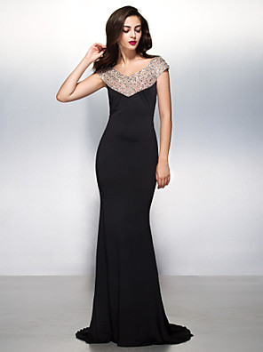 TS Couture® Formal Evening / Black Tie Gala Dress - Beautiful Back Trumpet / Mermaid V-neck Sweep / Brush Train Jersey with Beading