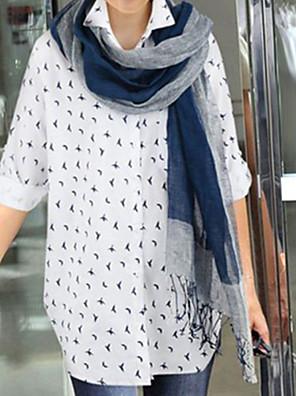 דפוס צווארון חולצה פשוטה יום יומי\קז'ואל חולצה נשים,סתיו שרוול ארוך כחול / לבן בינוני (מדיום) כותנה