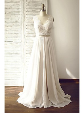 A-line Wedding Dress - Chic & Modern Wedding Dresses in Color / See-Through Wedding Dresses Court Train V-neck Chiffon / Lace with Button