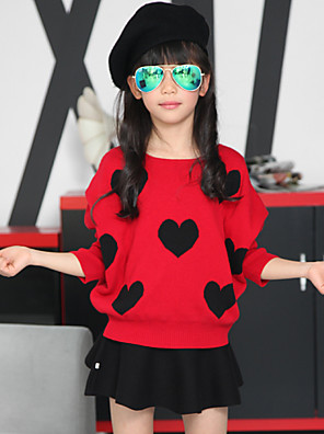 סט של בגדים דפוס כותנה / סריגה סתיו שחור / אדום הילדה של