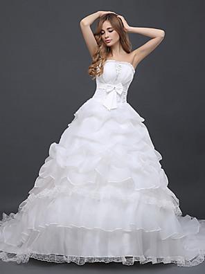De Baile Vestido de Noiva Cauda Capela Tomara que Caia Tule com Laço / Renda / Babados