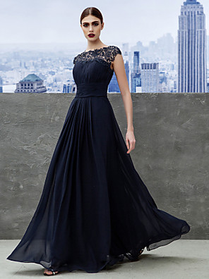 TS Couture® Formal Evening / Black Tie Gala Dress A-line Bateau Floor-length Georgette with Draping / Lace