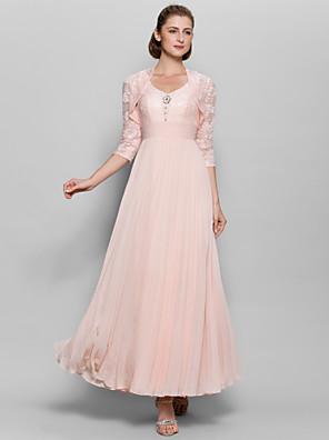 Lanting Bride® A-Linie Šaty pro matku nevěsty Po kotníky 3/4 délka rukávu Šifón / Krajka - Krajka / Sklady / Flitry