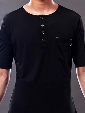 ריקוד לטיני חלקים עליונים בגדי ריקוד גברים ביצועים / אימון זהורית כפתורים / כיסים חלק 1 שרוול קצר עליוןM:65 cm / L:67 cm / XL:69 cm /
