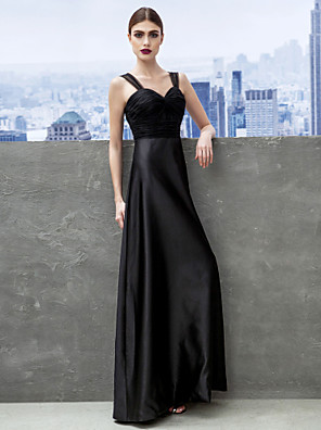 주름 끈과 TS couture® 공식적인 저녁 / 검은 넥타이 갈라 드레스 칼집 / 열 아가 바닥 길이 새틴 / 얇은 명주 그물
