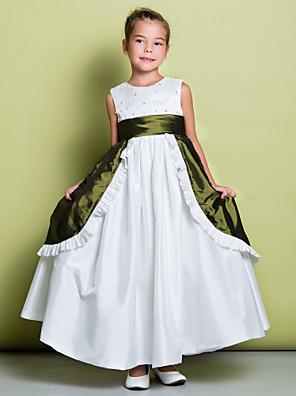 גזרת A באורך הקרסול שמלה לנערת הפרחים - טפטה ללא שרוולים עם תכשיטים עם חרוזים