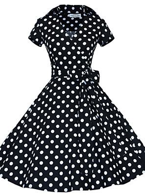 Women's Retro 50s Shirt Collar Polka Dot Swing Party Dress
