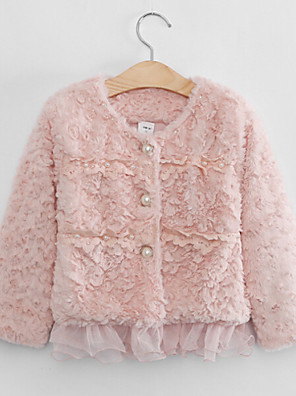 Girl's Green / Pink / Beige Jacket & Coat , Lace Polyester Winter