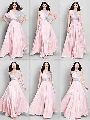 Lanting Bride® באורך הקרסול ג'רסי שמלה לשושבינה  גזרת A צווארון וי עם בד בהצלבה