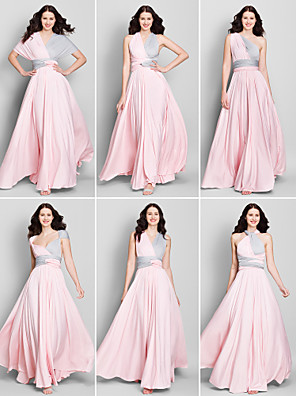 Lanting Bride® באורך הקרסול ג'רסי שמלה הניתנת להמרה שמלה לשושבינה - גזרת A צווארון וי עם בד בהצלבה