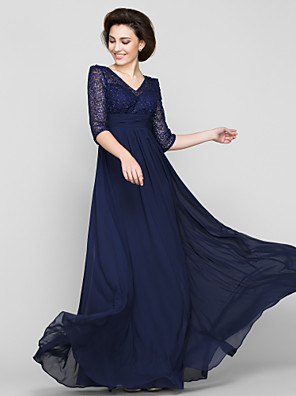A-line Mother of the Bride Dress Ankle-length Half Sleeve Chiffon / Lace with Lace / Ruching