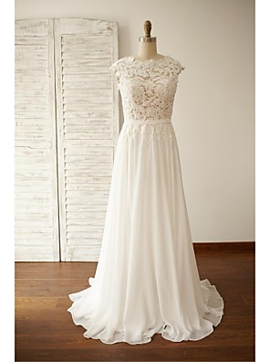 A-line Plus Sizes / Petite Wedding Dress - Chic & Modern Open Back / See-Through Wedding Dresses Sweep / Brush Train Jewel Chiffon / Lace