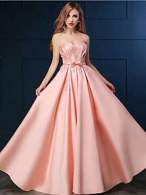 Formeller Abend Kleid A-Linie Herzausschnitt Boden-Länge Satin mit Applikationen / Perlstickerei