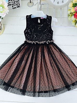 Girl's Jacquard Dress,Cotton / Mesh Summer Black