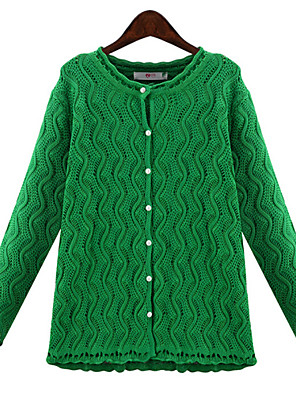 Women's Solid Green / Beige Cardigan , Vintage / Casual / Party / Work / Plus Sizes Long Sleeve