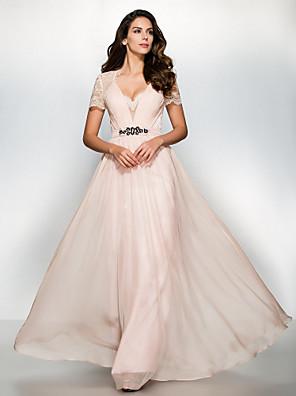 공식적인 저녁 couture® TS는 레이스와 줄 연인 층 길이 쉬폰 / 레이스 드레스