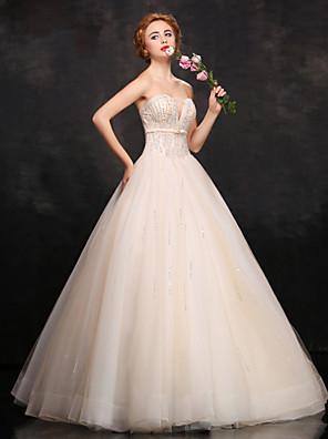 Serata formale Vestito Da ballo A cuore Lungo Di pizzo / Raso / Tulle con Perline / Fascia / fiocco in vita