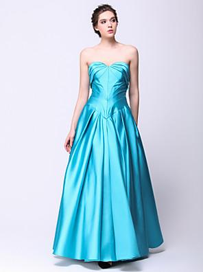 TS couture® 공식적인 저녁 측 입체 재단과 함께 줄 연인 바닥 길이 새틴 드레스