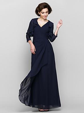 Lanting Bride® Pouzdrové Šaty pro matku nevěsty Po kotníky 3/4 délka rukávu Šifón - Kaskádové řasení / Křížení
