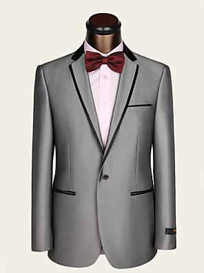 חליפות גזרה צרה פתוח Single Breasted One-button צמר / ויסקוזה פסים שני חלקים אפור בהיר כיס ישר ללא (חלק קדמי שטוח) אפורללא (חלק קדמי