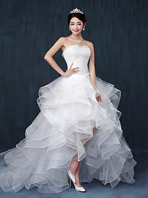גזרת A שמלת כלה - שיק ומודרני א-סימטרי מחשוף לב תחרה / טול עם קפלים / חרוזים
