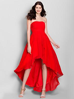 Lanting Bride® Asymetrické Šifón Šaty pro družičky A-Linie Bez ramínek s Boční řasení