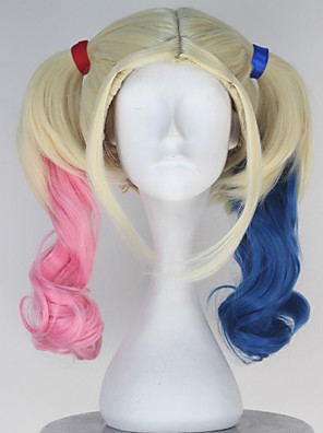 Movie Suicide Squad Harley Quinn Women's Long Curly Anime Cosplay Wig