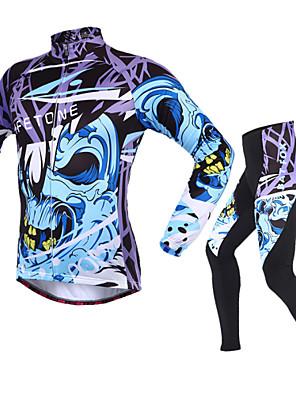 BATFOX® חולצה וטייץ לרכיבה לגברים שרוול ארוך אופניים נושם / שמור על חום הגוף / עמיד אולטרה סגול / רוכסן YKKמעילי פליז / חולצה+מכנס / מדים