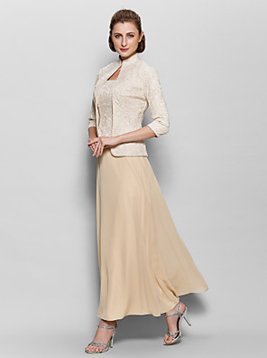 A-line Mother of the Bride Dress Ankle-length 3/4 Length Sleeve Chiffon / Lace with Lace